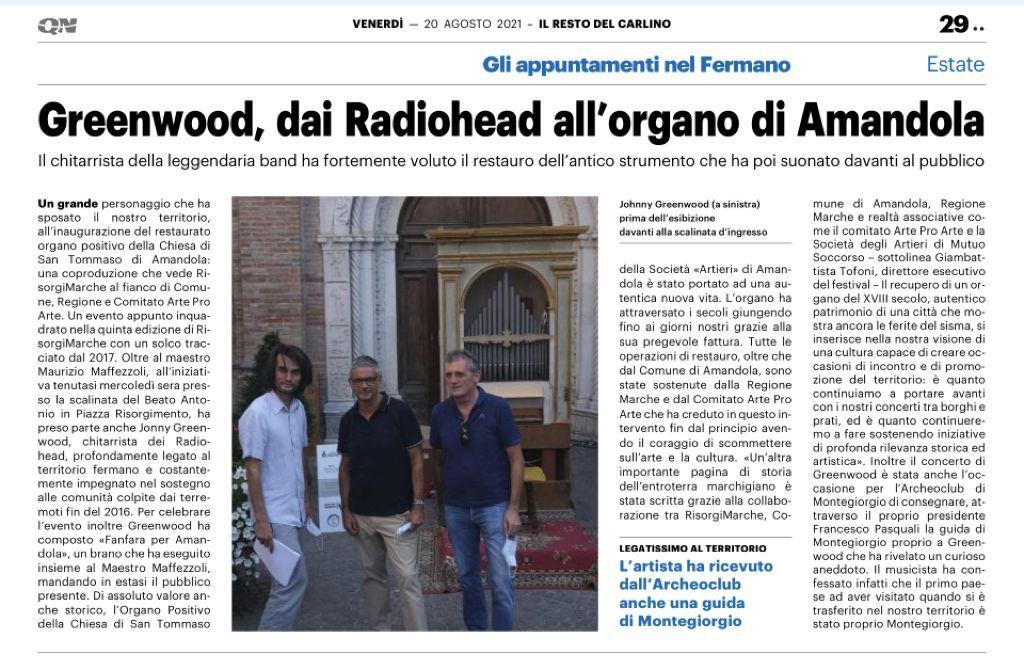 Greenwood, dai Radiohead all'organo di Amandola